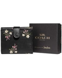 COACH - Floral Leather Tri-fold Wallet - Lyst
