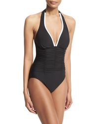 Magicsuit - Kara Contrast-trim Halter One-piece Swimsuit - Lyst