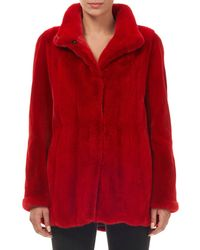 Gorski - Wing-collar Snap-front Mink Fur Jacket W/ Sheared Sleeves - Lyst