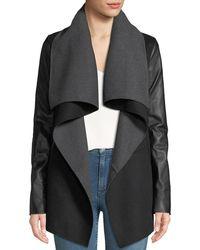 Mackage - Vane Wool Coat W/ Leather Sleeves - Lyst