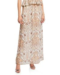 cheaper sale uk discount collection Pallenberg Paisley Shirred Maxi Skirt With Bead Trim - Multicolor