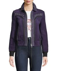 COACH - Bandana Studded Zip-front Suede Jacket - Lyst
