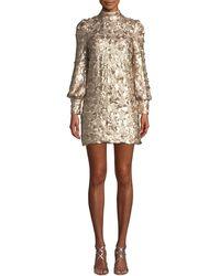 Elliatt - Joan Sequin High-neck Blouson-sleeve Mini Dress - Lyst