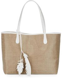 Nancy Gonzalez   Erica Medium Linen Leaf Tote Bag   Lyst