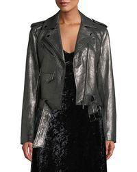 MICHAEL Michael Kors - Metallic Leather Moto Jacket - Lyst