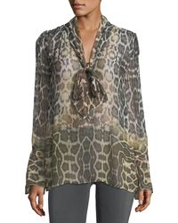 Equipment - Jacqueleen Tie-neck Long-sleeve Leopard-print Chiffon Blouse - Lyst