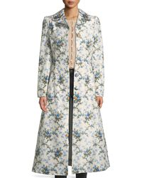 Brock Collection - Colette Rose-print Belted Chine Taffeta Corseted Coat - Lyst
