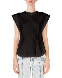 Isabel Marant - Yelena Cap-sleeve Tee With Keyhole Back - Lyst