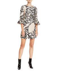 Valentino - Jewel-neck 3/4-sleeve Tiger-print Crepe Cocktail Dress - Lyst