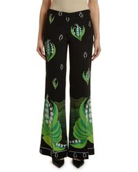 Valentino - Women's Lily Of The Valley Silk Pants - Black Green - Lyst