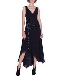 08e123720ae9a Lyst - Donna Karan Draped V-neck Long Sleeve Dress in Black
