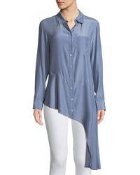 Nanette Lepore - Spirit Chambray Collared Silk Blouse W/ Asymmetric Hem - Lyst