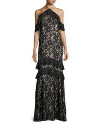 Aidan By Aidan Mattox - Long Lace Mermaid Cold-shoulder Evening Gown - Lyst