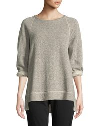 Eileen Fisher - Boat-neck 3/4-sleeve Twisted Terry Organic Cotton Top Petite - Lyst