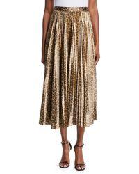 A.L.C. - Bobby Leopard Print Pleated Midi Skirt - Lyst