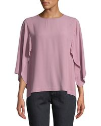 Eileen Fisher - Cape-sleeve Silk Top - Lyst