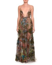 Valentino | Embellished Sleeveless V-neck Gown | Lyst