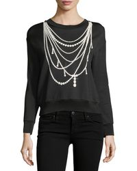 Boutique Moschino - Pearl Necklace-print Sweatshirt - Lyst