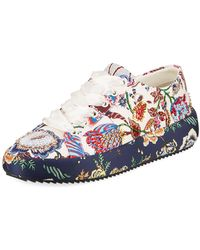 f29899232 Tory Burch - Kacey Embellished Floral Leather Low-top Sneakers - Lyst