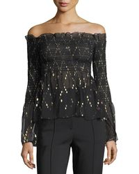 A.L.C. | Agra Off-the-shoulder Top With Metallic | Lyst
