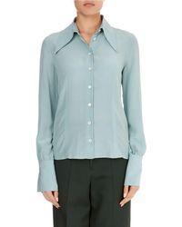 Victoria Beckham - Long-sleeve Silk Pointed-collar Top - Lyst