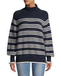 Rebecca Taylor - Striped Bishop-sleeve Turtleneck Sweater - Lyst
