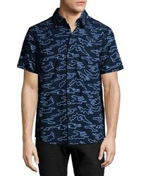 Daniel Won - Camo-embroidered Short-sleeve Cotton Shirt - Lyst