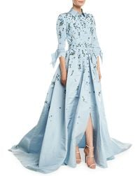 Carolina Herrera - Tie-sleeve Sparkle-embroidered Trench Gown - Lyst