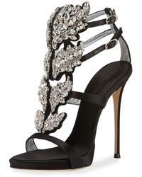 Giuseppe Zanotti - Satin Wing Jeweled Sandals - Lyst