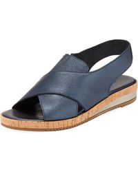 Sesto Meucci - Sabita Cinzano Leather Demi-wedge Flat Sandal - Lyst