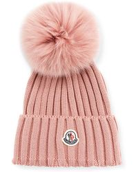 cd34a9ac4d89ab Moncler Pink Ribbed Logo Pom Pom Beanie in Pink - Lyst