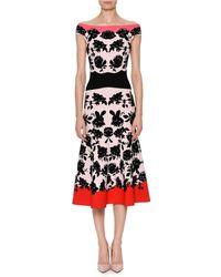 Alexander McQueen - Rose-intarsia Off-the-shoulder Knit Dress - Lyst