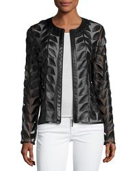 Neiman Marcus - Leather Leaf-trimmed Sheer Organza Jacket - Lyst