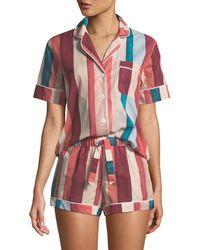 Desmond & Dempsey - Striped Shorty Pajama Set - Lyst