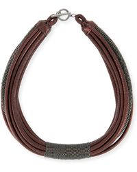 Brunello Cucinelli | Monili Tube Leather Multi-strap Choker | Lyst