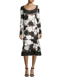 Naeem Khan - Two-tone Floral Guipure Lace Flounce Dress - Lyst