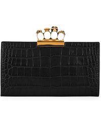Alexander McQueen | Knuckle Silky Crocodile-embossed Flat Clutch Bag | Lyst
