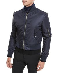 Valentino - Men's Spiked-shoulders Bomber Jacket - Lyst