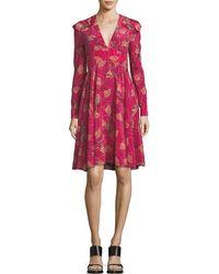 Valentino - Lotus-print Silk V-neck Dress - Lyst