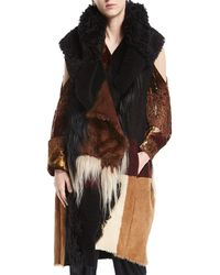 Urban Zen - Patchwork Shearling Fur Vest - Lyst