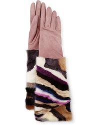 Neiman Marcus - Long Suede & Mink Gloves - Lyst