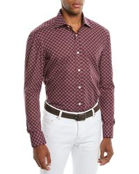 Kiton - Men's Geometric-print Cotton Sport Shirt - Lyst