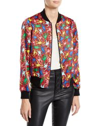 Alice + Olivia - Keith Haring X Lonnie Reversible Bomber Jacket - Lyst