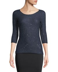 Giorgio Armani - 3/4-sleeve Mohair Knit Sweater Top With Sparkle - Lyst