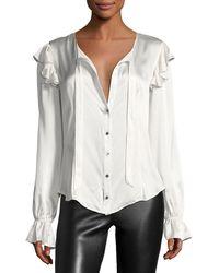 Cinq À Sept - Cassanova Tie-neck Button-front Silk Satin Blouse - Lyst