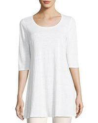 Eileen Fisher - Half-sleeve Linen Jersey Layering Tunic - Lyst