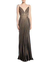 Jovani - Sleeveless Gown W/ Beaded Stripes - Lyst