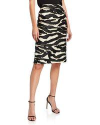Oscar de la Renta - Zebra Fil Coupe Pencil Skirt - Lyst