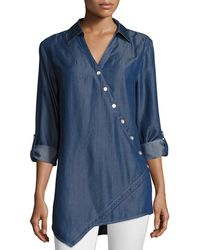 Go> By Go Silk - Long-sleeve Denim Asymmetric Button Shirt - Lyst