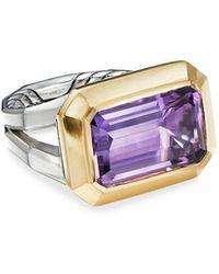 David Yurman Novella 16mm Stone Ring W/ 18k Gold & Amethyst/citrine, Size 5-8 - Purple